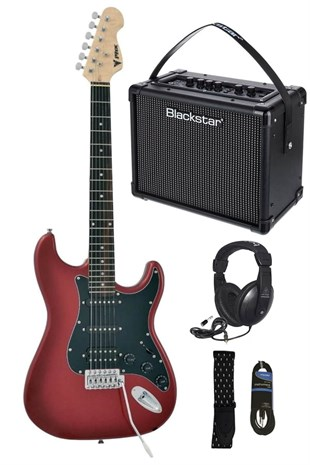 Midex Red Paket Elektro Gitar + Blackstar İd Core 10 Amfi + Kulaklık Set